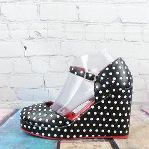 TUK Polka Dot Wedge High Heel Sandals Size 7